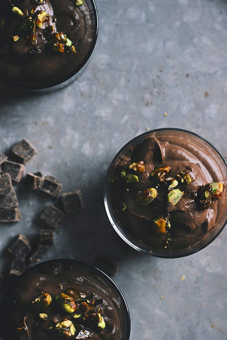 dark chocolate pudding with salted caramel pistachios.