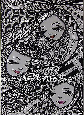 NFAC-FEB-ACEO-Original-Joy-Zentangle-Woman-Face-3-Fates-Sister-Moirai-Mythology