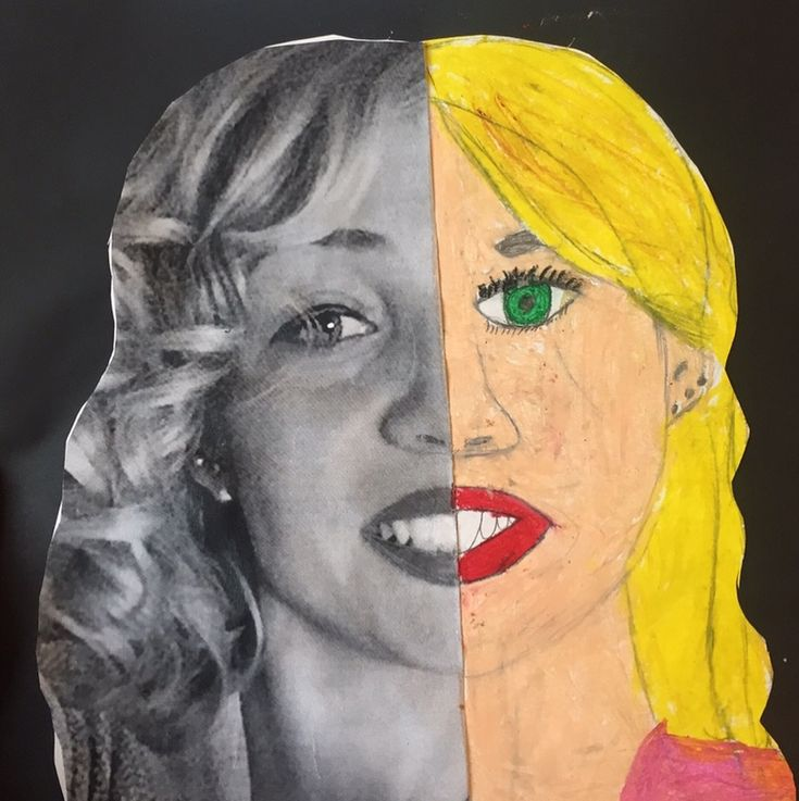 """Passend zum Thema """"Symmetrie"""" im Mathematikunterricht, kann die Thematik auch in Kunst aufgegriffen werden. Die Kinder bekamen ein schwarz-weiß Foto von einer meiner Gesichtshälften und mussten nun versuchen die andere Hälfte (natürlich symmetrisch ) mit Ölkreiden zu vervollständigen. Das ganze kann man natürlich auch mit den Fotos der Kinder machen. Ich fands jedoch ganz spannend und wollte sehen, was sie da so mit meinem Gesicht vorhaben! Hat den Kinder und natürlich mir unheimlich Spaß..."""
