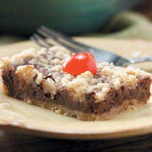 Chocolate-Cherry Cheesecake Bars Recipe -I've had this recipe longer than I can remember. I like to make it for Valentine's Day and Christmas. The pretty bars also look festive for a party or shower.