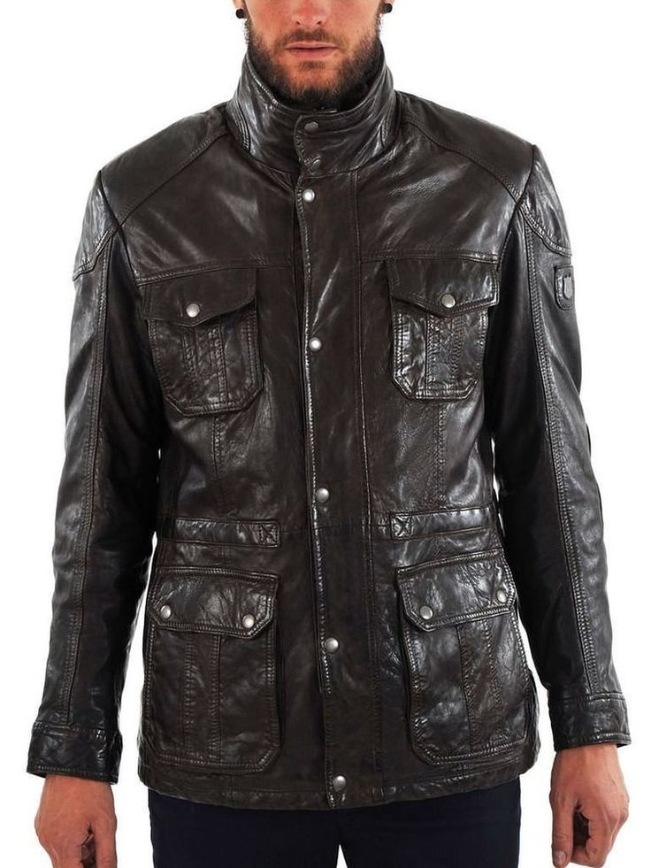 Mens Original Biker Leather Motorcycle Jacket Lambskin Genuine Zipper Coat SZ140 #Handmade #Motorcycle
