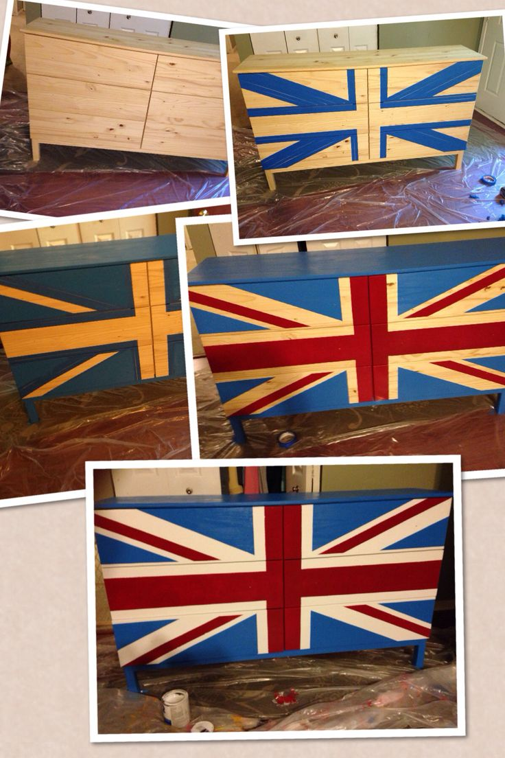 Union Jack dresser use for how to do headboard.