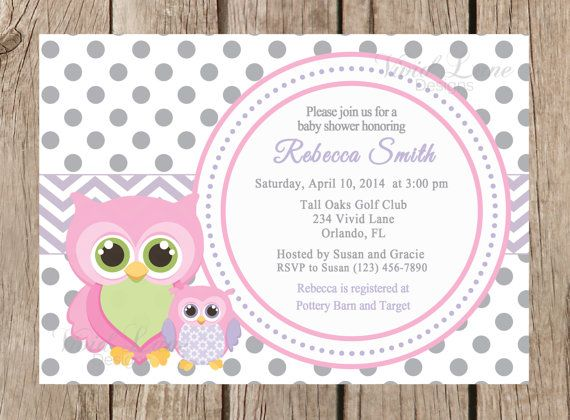 108 best cards images on pinterest indian bridal indian weddings owls baby shower printable invitation girl baby shower pink purple and grey white filmwisefo