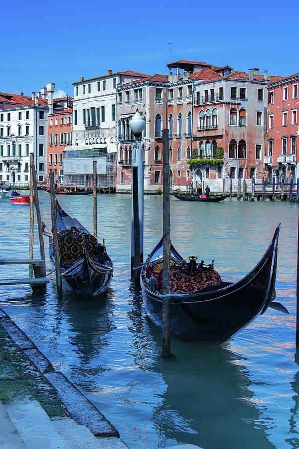 George Westermak Photograph - Gondolas At Berth Of The Grand Canal In Venice by George Westermak #GeorgeWestermak #travel #FineArtPrints# landscape #Italy #Photography