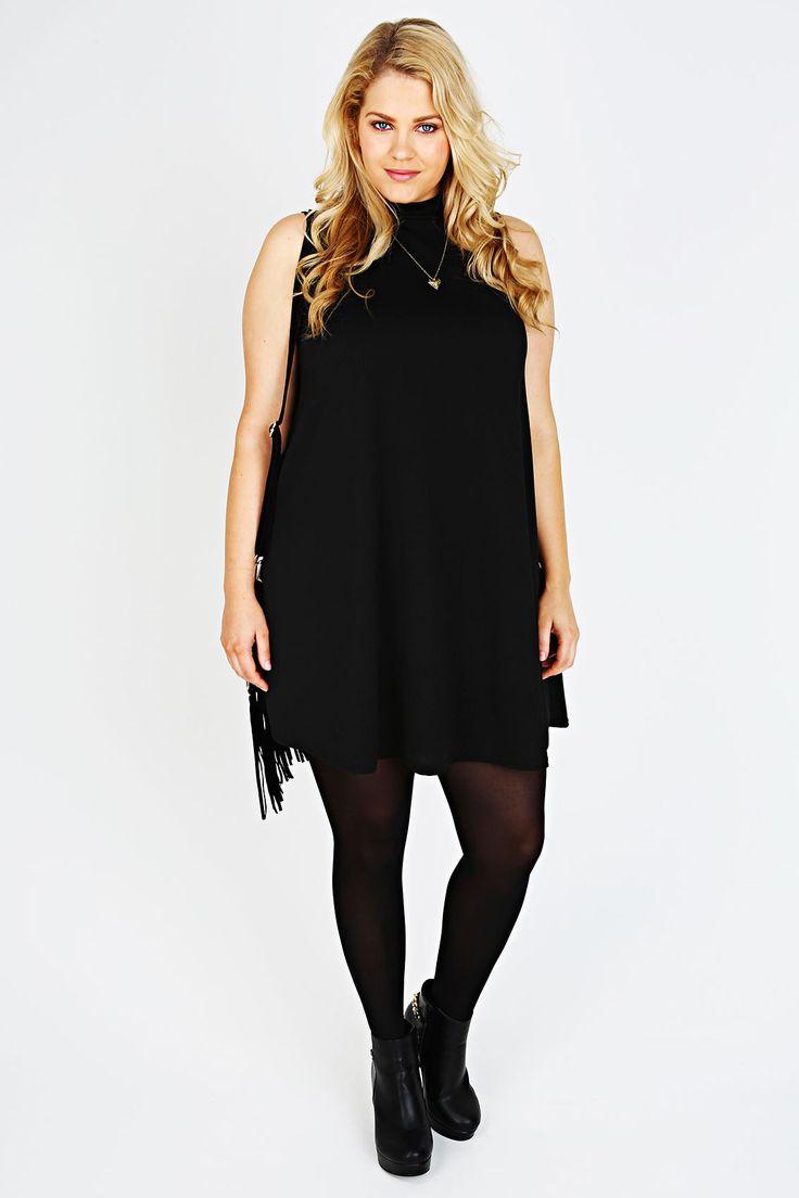 Black Sleeveless Swing Dress With Turtle Neck
