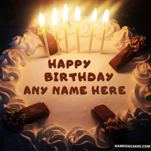 Cool Candles Happy Birthday Cake For Friends With Name