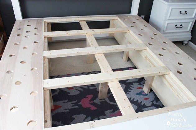 Farmhouse King Size Bed With Storage Diy Storage Bed Diy King