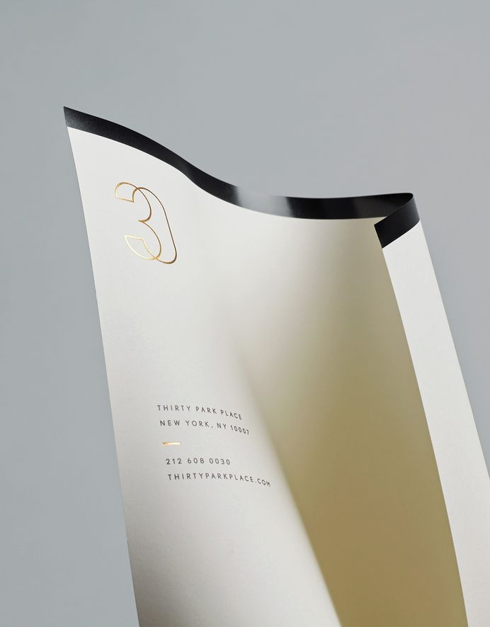 Gold foiled headed paper for Four Seasons private residence 30 Park Place by Mother — Designspiration