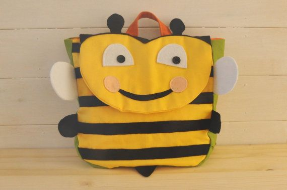 """Backpack """"Happy B"""" (Beautiful colors for this bee shape backpack, 100% cotton, adjustable straps, easy velcro closure and lining inside)"""