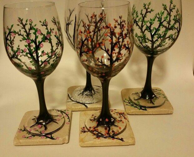 4 seasons,with matching stone coasters