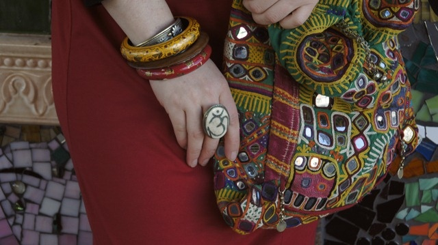 Tribal jewellery from India and Nepal and Banjara bag.