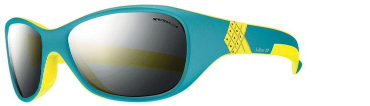 Julbo Kid's Solan Sunglasses, Spectron 3+ Lens, Blue/Yellow, 4-6 Years. Spectron 4 Baby lens is a dark lens, blocking 95% of the visible light, for max protection for your child's eyes. The symmetrical shape of the sunglass eliminates a right-side-up or wrong-side-up. The hingeless design prevents little figures from being pinched. Comes with a flat elastic strap in order to keep the sunglasses on your babies head.