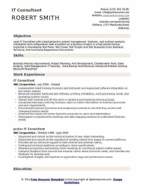 It Consultant Resume Samples Qwikresume Cv Template Sample Resume Templates Cv Design Template