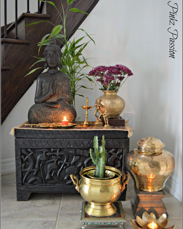 Nice foyer presentation- Brass artifacts, Brass Collectibles, brass collection, Brass Décor, Global Décor, Home decor, Indian Home, Indian home décor, Indian Inspired Décor, My brass vignettes, niche corner, stairs niche decor