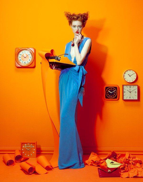 Complementair contrast met oranje en blauw. Warm Koud contrast Kwantiteit contrast