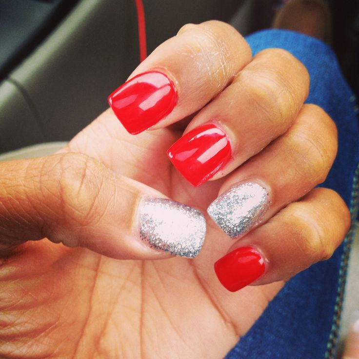 White And Silver For Prom Nail Ideas: Red And Silver Prom Nails.