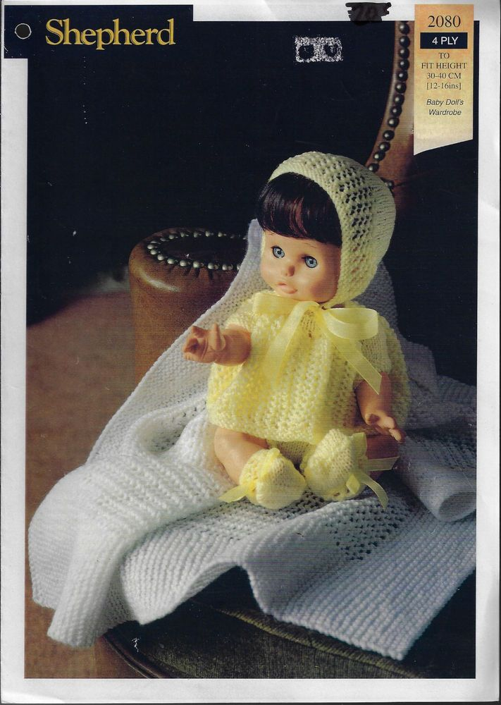 Baby Doll Wardrobe Shepherd knitting pattern 4ply yarn dress bonnet boots shawl #Shepherd