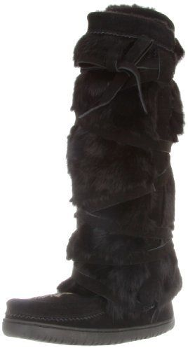 $202, Black Fur Knee High Boots: Manitobah Mukluks Tall Wrap Vibram Boot. Sold by Amazon.com. Click for more info: http://lookastic.com/women/shop_items/117107/redirect