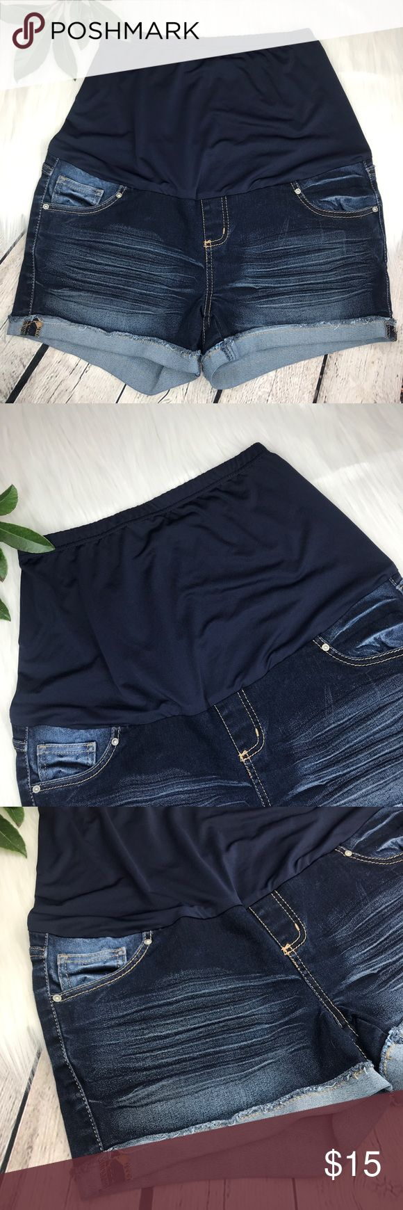 "Paris Blues Maternity Shorts Sz M Dark Distressed Paris Blues Womens Maternity Shorts Sz M Distressed Cuffed Hems  Wash: Dark Materials: 71% Cotton 28% Polyester 1% Spandex  Approx Measurements: Hips- 38"" Inseam- 3"" Paris Blues Shorts Jean Shorts"