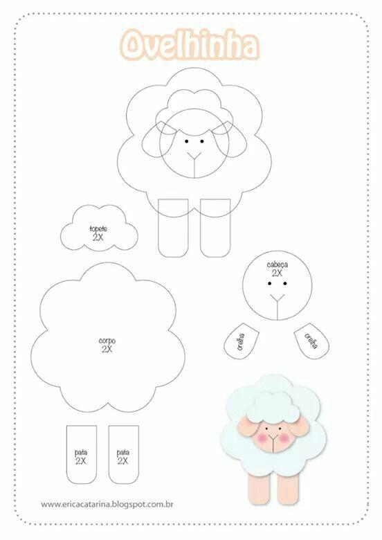 Molde oveja | Gomma crepla - goma eva - foami - fomi | Pinterest