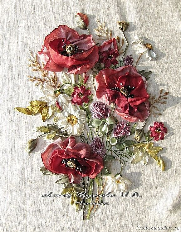 Amazingly realistic poppies diy embroidery inspiration - Ribbon work.#embroidery #ribbonwork