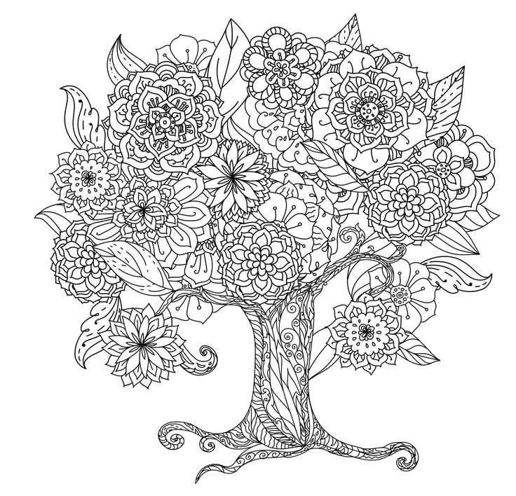 2513 Best Cute Coloring Book Images On Pinterest Tree Coloring Page For Adults