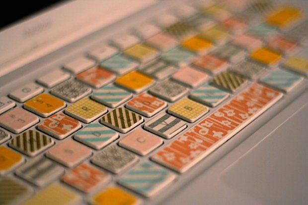 DIY washi tape keyboard decorations.