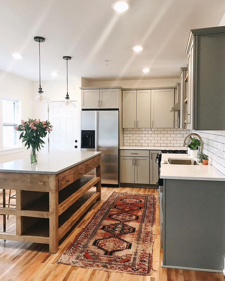 Painted cabinets, wood island. Two toned kitchen. Love!