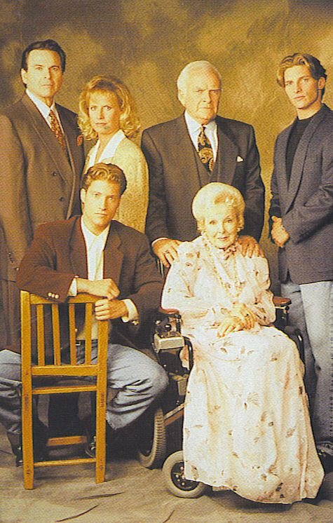 The Quartermaines from GH mid-1990s. Stuart Damon, Leslie Charleson, John Ingle Steve Burton and in front Sean Kanan and Anna Lee (Alan, Monica, Edward, Jason, AJ and Lila.)