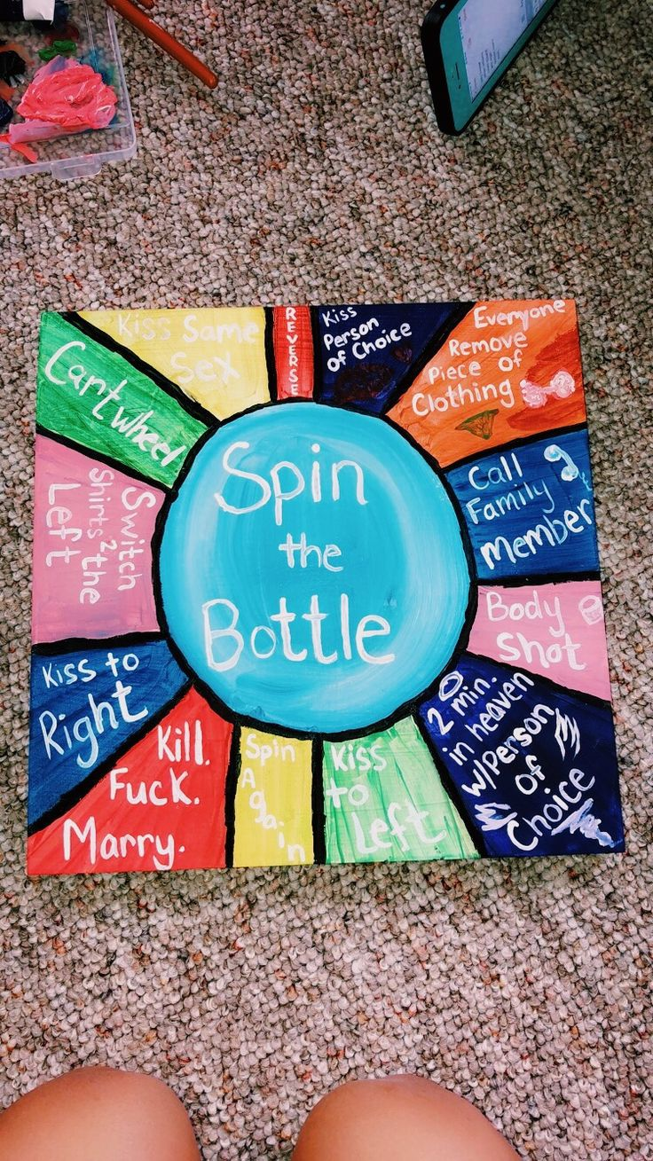 But instead  – fill a water bottle of loko and everyone takes a sip before you spin it -replace the choices with hard tasks to complete while you're drunk ( has to be played when one loko is already finished )