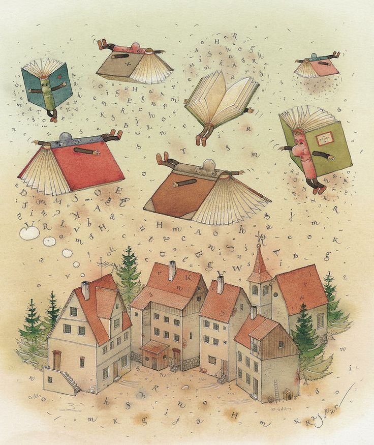 Flying Books Painting  - Flying Books Fine Art Print