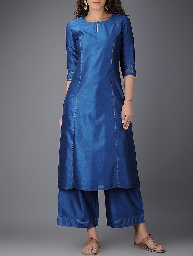 Blue Round Neck Chanderi Kurta on Jaypore.com