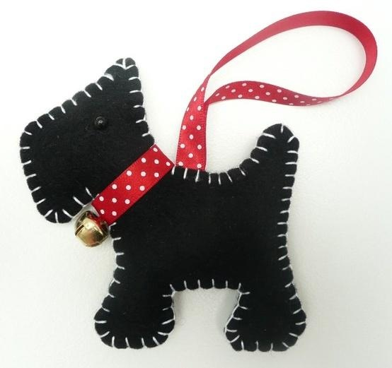 Scottie Dog Felt Christmas Decoration -