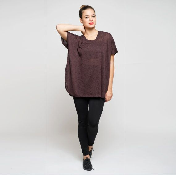 Short Sleeve Shirt purple Oversized Women's Top by AndyVeEirnBasic