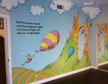 whimsical dr seuss inspired nursery mural contemporary photo