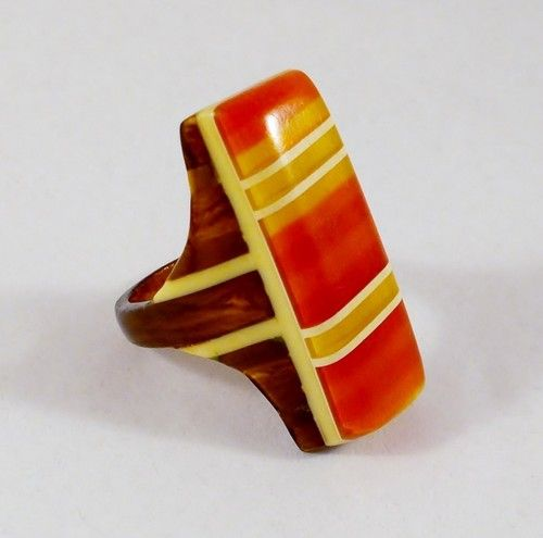 Art Deco Geometric Striped 3 Color Bakelite Ring I want this more than any could know - inga