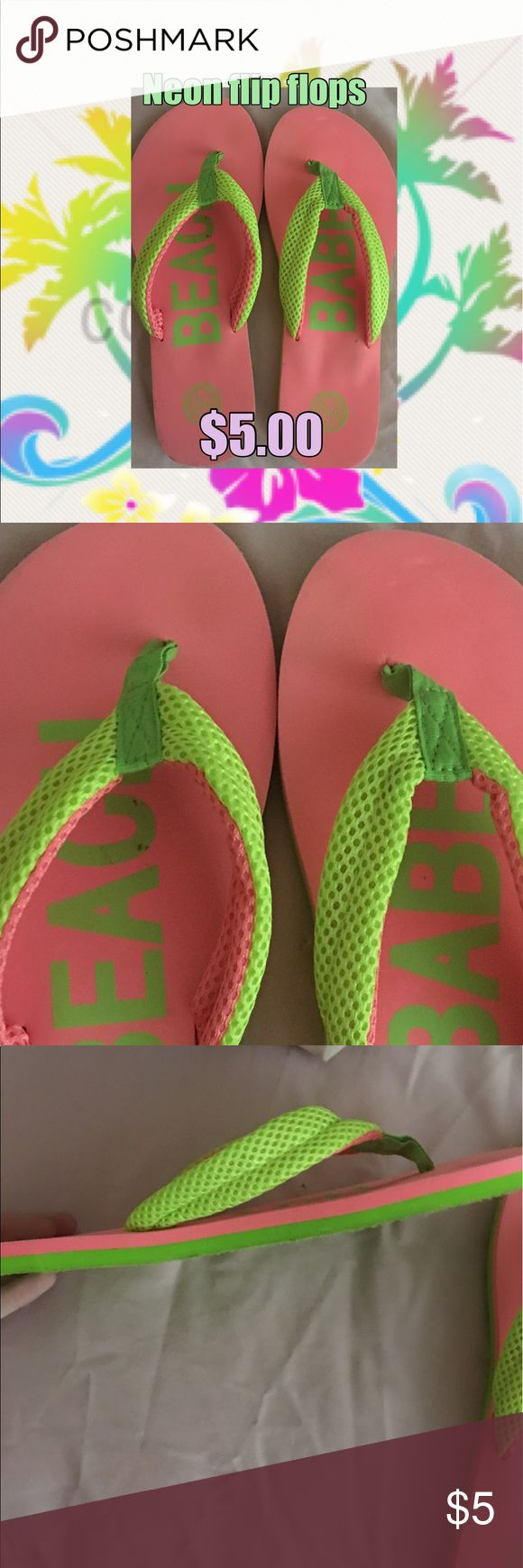 Neon pink and green flip flops Nice thick style neon green and pink flip flops the thong part of the flip flops are made of a mesh material and 1/4 inch lift to them. Worn 2 times super comfy! SO BEACH Shoes Sandals