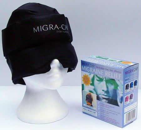 Migra-Cap - I ordered one of these and love it. It has gel packs in it that are freezable and hit all the trigger points for me.