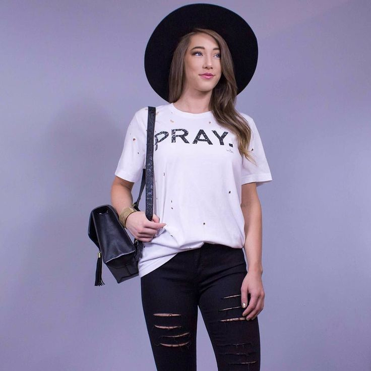 Pray. Enough said. Don't be afraid to show off your style or what you believe in! And never forget to shop online at http://ift.tt/2fU1BIi Pray. White Distressed Tee $34. online  in-store. Chunky Gold Bangle $22. in-store only. Be Bold Hat $48. in-store only. Tiny But Mighty Backpack in Black $44. in-store only. Onyx Distressed Skinny $74. in-store only. #WearElysianDaily http://ift.tt/2qx8bKc Pray. Enough said. Don't be afraid to show off your style or what you believe in! And never forget…