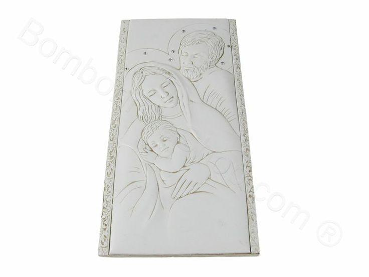 Sacra Famiglia unita in bassorilievo con strass e gancio per appendere