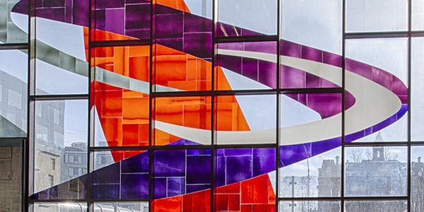 Verrière de Marcelle Ferron, station Champ-de-Mars (dévoilée en 1968). Follow the biggest painting board on Pinterest: www.pinterest.com/atelierbeauvoir