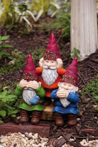 "11"" See No Evil, Hear No Evil, Speak No Evil Gnomes Outdoor Patio Garden Statue by Evergreen. $49.99. See No Evil, Hear No Evil, Speak No Evil Gnome StatueItem #841883This statue features three gnomes on a wood stump posing in the classic ""see no evil, hear no evil, speak no evil"" poseAccented with a floral design and a birdDimensions: 11""H x 9.5""W x 4.5""DMaterial(s): resin. Save 17% Off!"