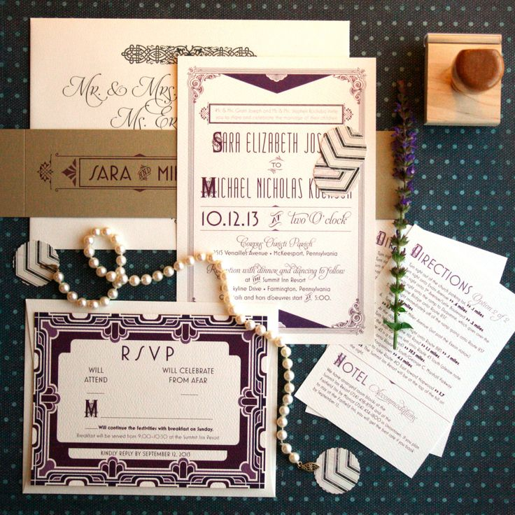 Art deco wedding invitations inspired by the Great Gatsby & roaring twenties. Layered vintage custom wedding suite - Daisy by PaperStreetPress on Etsy https://www.etsy.com/listing/159027891/art-deco-wedding-invitations-inspired-by