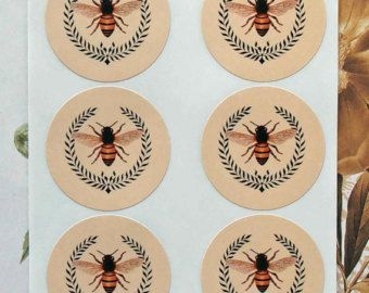 Stickers Vintage Style Envelope Seals Queen Bee by bljgraves