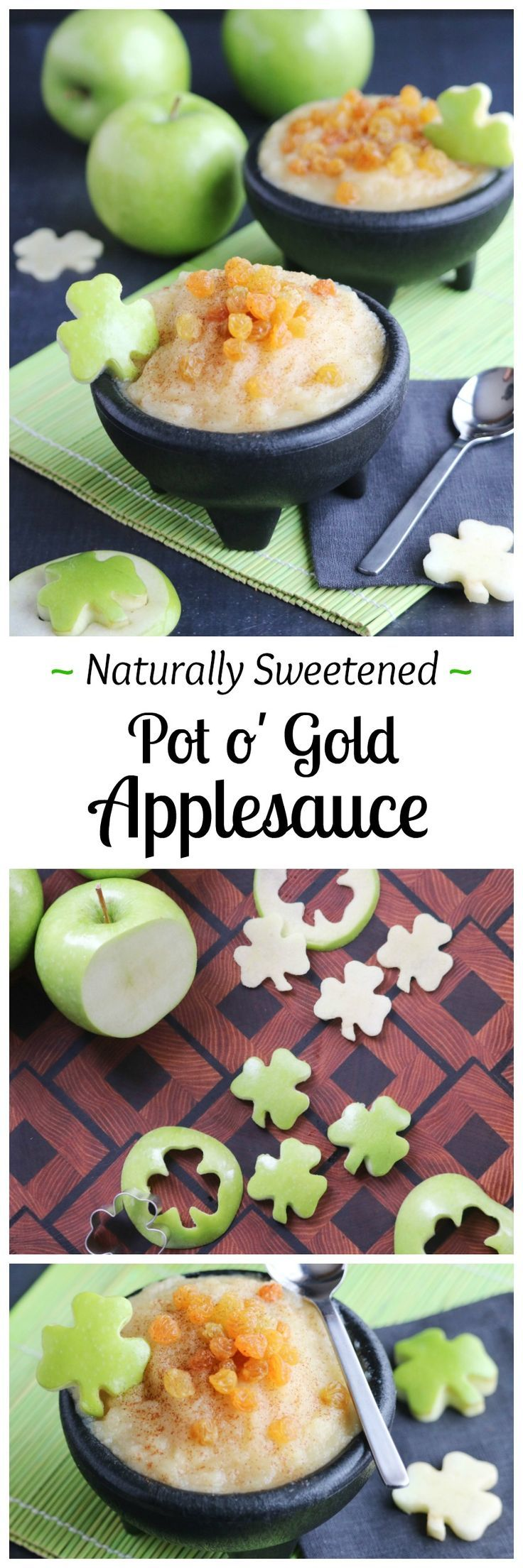 This Naturally Sweetened Pot o' Gold Applesauce is such a fun St. Patrick's Day snack! Quick, easy – and so healthy, too! With natural sweetness from a surprising (golden!) mix-in, your kids will love the luck-o-the-Irish twist, and you'll love all the great nutrition! | www.TwoHealthyKitchens.com