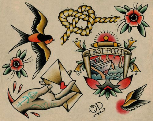 sparrow neotraditional flash tattoo - Google Search