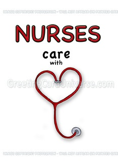 Nurses Day - Nurses care with Love/Heart Greeting Card - Gerda Steiner
