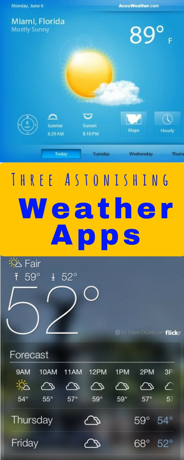 Three Astonishing Weather Apps To Use A weather app should, not only be convenient and interesting, but should also should be accurate and detailed enough to be really useful. As long as you have a smartphone and a weather app, you will always be prepared for snow flurries or sudden rain. Checking the weather can be boring for most people. But these apps, with their new and dandy ways of weather checking makes it all the more fun and interesting.