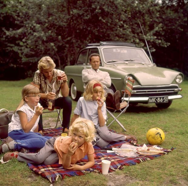 Dutch family having a picnic. Everyone's mad.