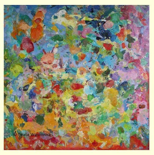 Beata Wąsowska, malarstwo Gra w kości, 100x100cm, olej na płótnie nr kat. 26-07 [2006]